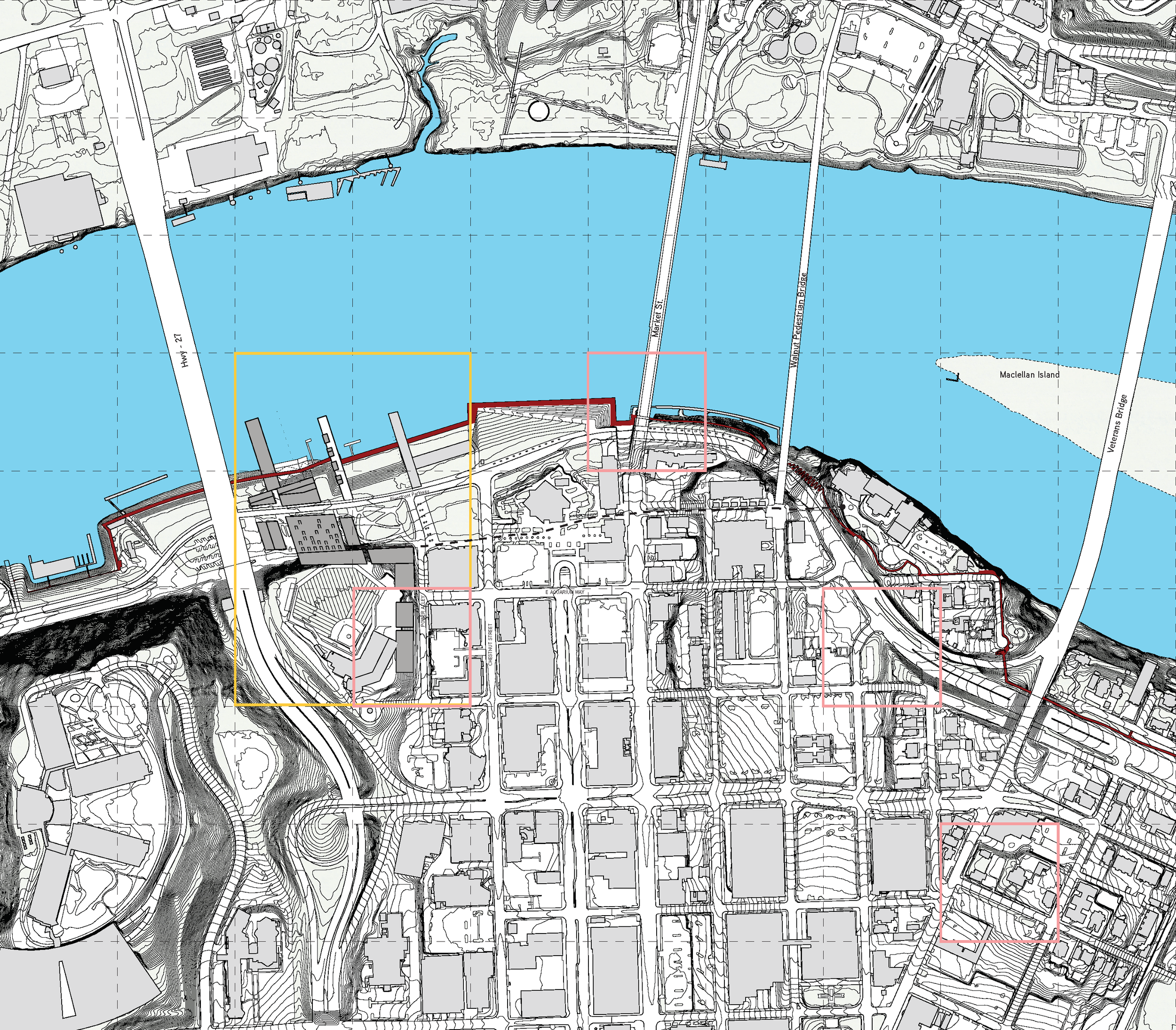 The context of Chattanooga, Tennessee:  the chosen territory rests on the last western piece that offers an abundant amount of possibilities for continuation of the Chattanoogs's Ramble.  The Ramble (dashed) | Territory highlighted in yellow | Existing + Proposed areas of housing highlighted in pink