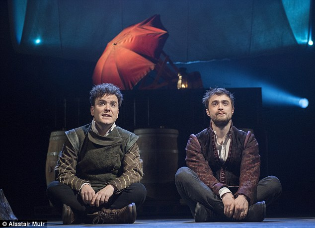 Joshua McGuire (left) and Daniel Radcliffe (right) in National Theatre Live's  Rosencrantz and Guildenstern Are Dead.