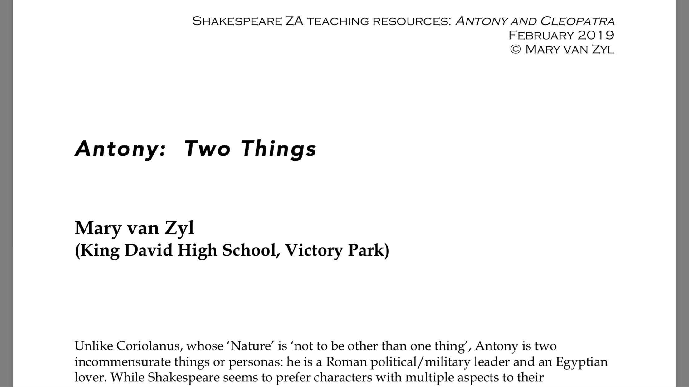 "- Download ""Antony: Two Things"" as a PDF"