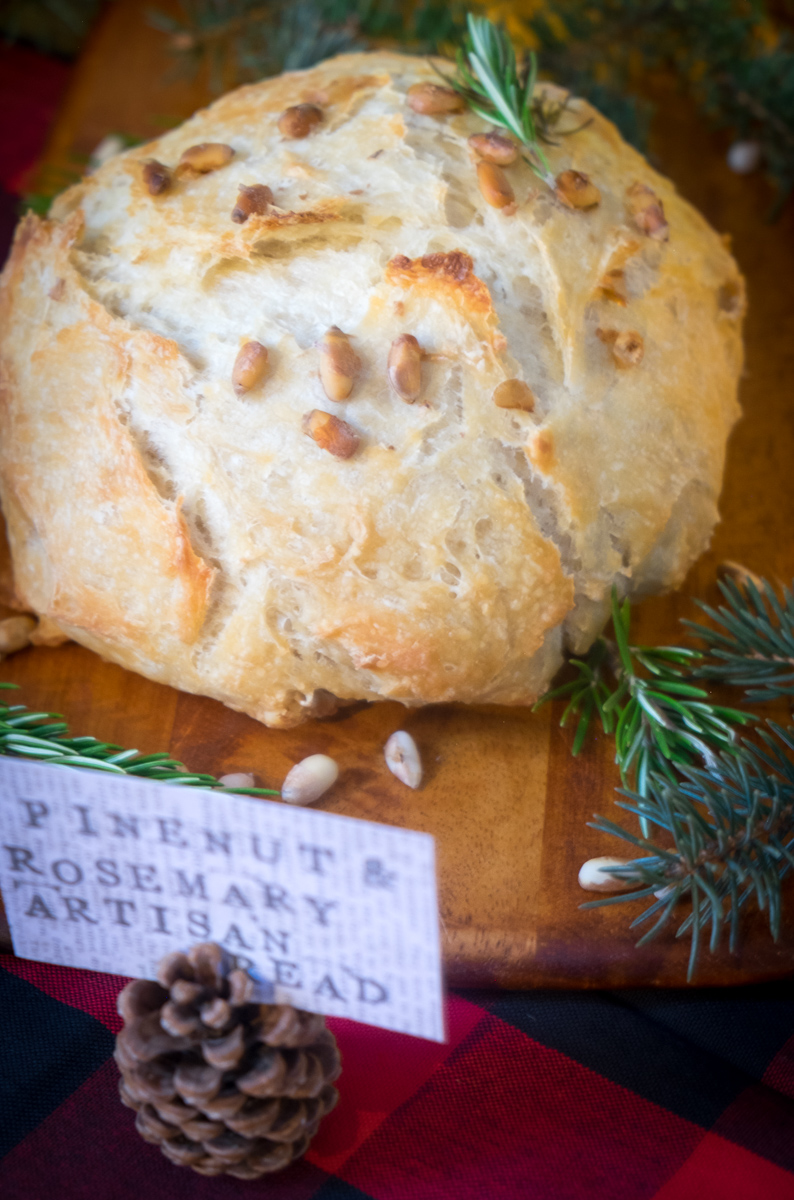 christmas-holiday-party-rosemary-pinenut-bread-into the woods