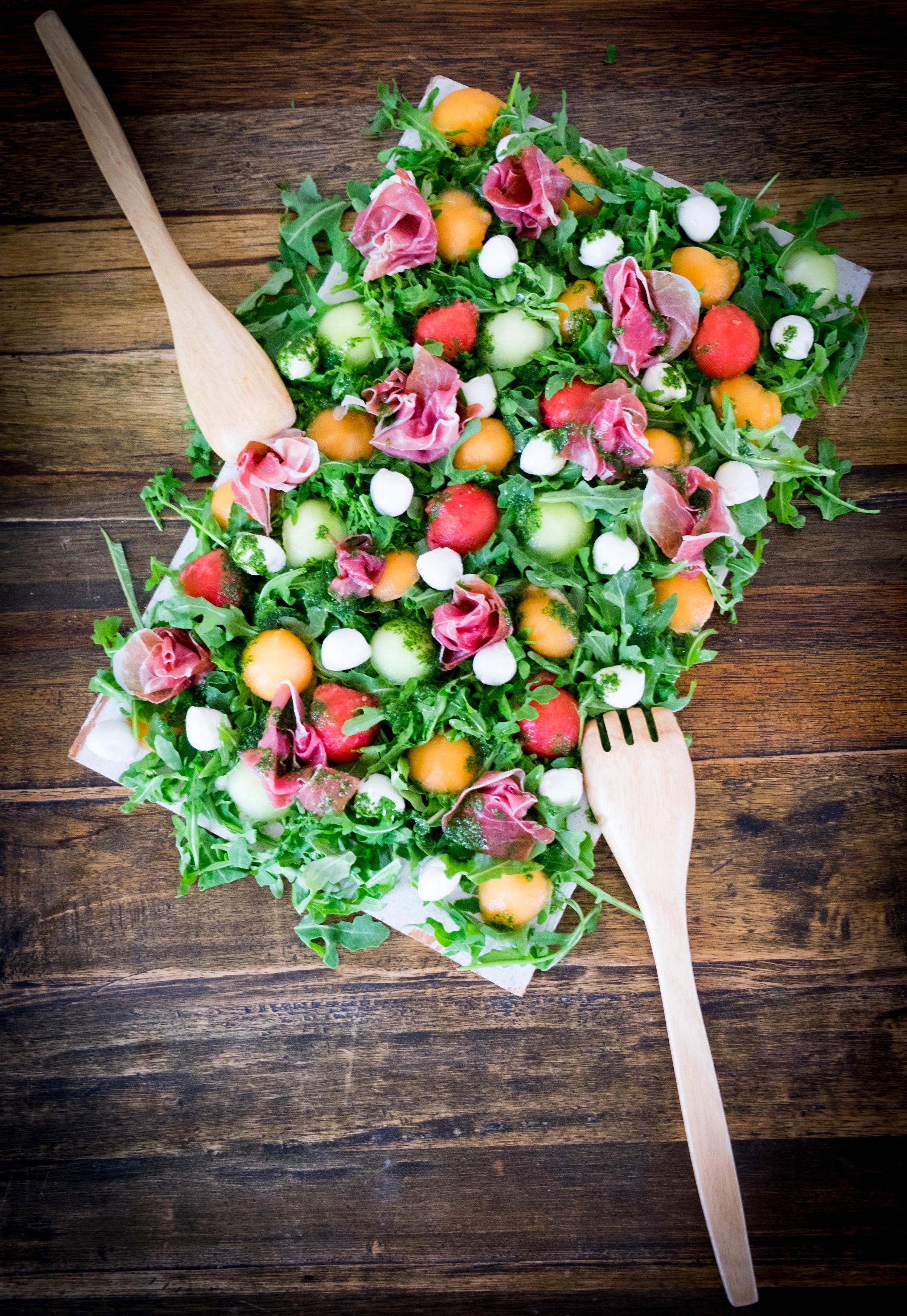 Melon Proscuitto Mint Vinagrette Salad_Summer Shindig.jpg