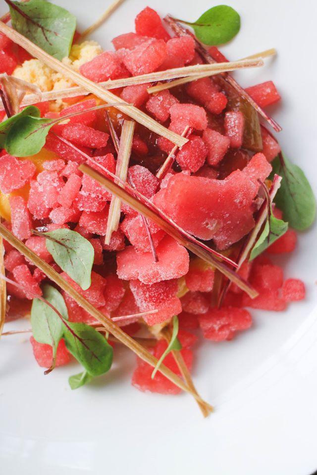 七月限定甜品 酸柑雪葩 – 大黃醬 + 西瓜冰粒 + 大黃脆