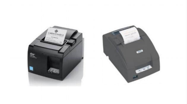 Thermal printer (left) and dot matrix printer (right)