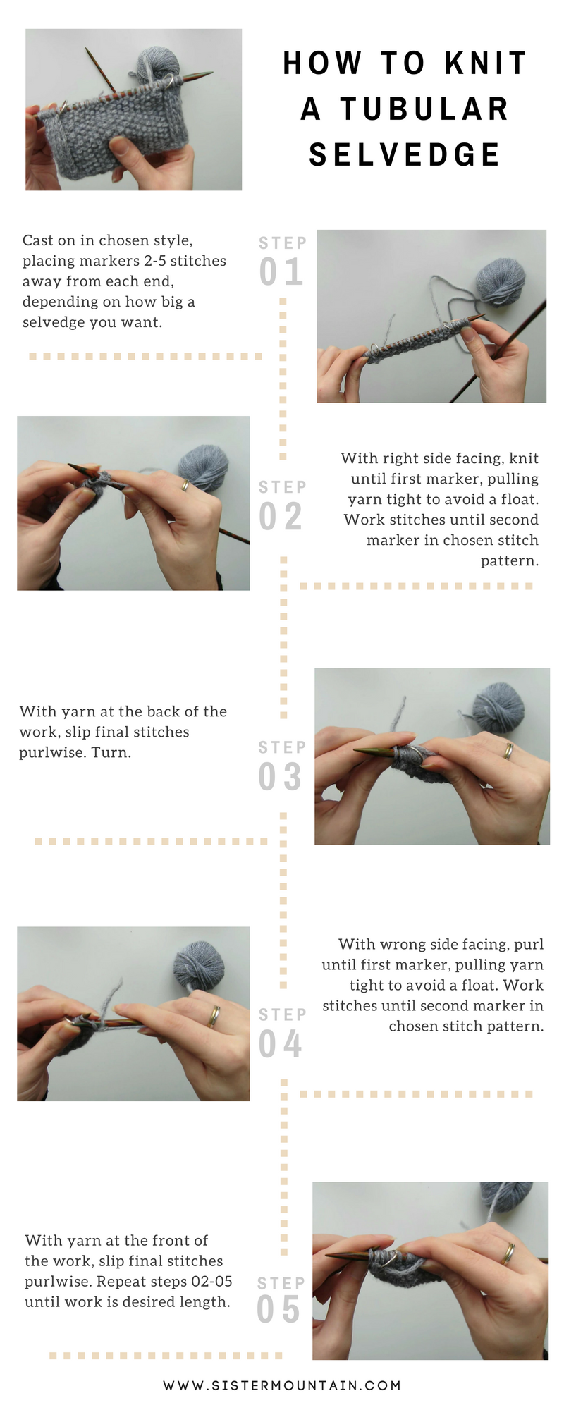Infographic - How to Knit a Tubular Selvedge
