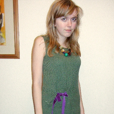 Here is an old photo of me in 2006, self-conscious and awkward, wearing a hand-knitted dress made from 4ply merino. I loved it!