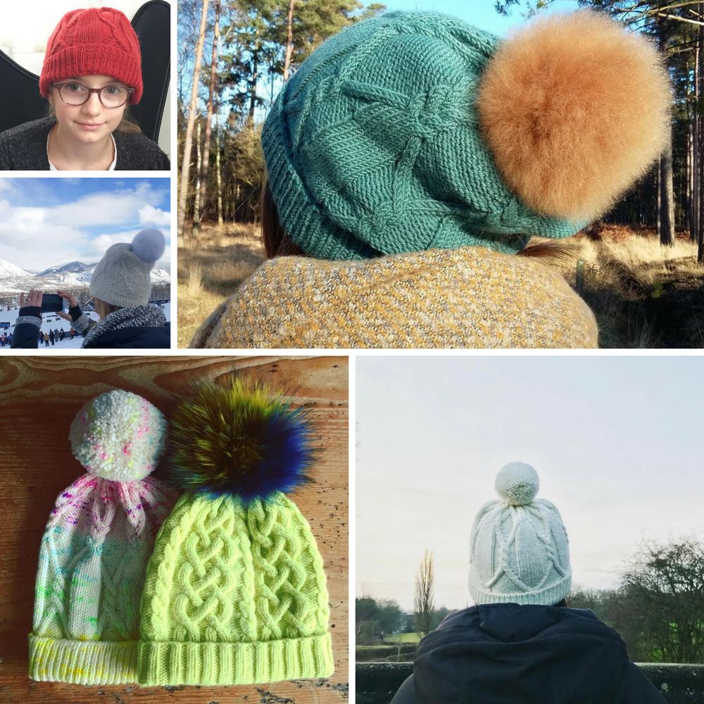 (Clockwise from top left) Rilo Hats by  Trianne ,  Genevievemartin ,  Tangledyarnuk ,  Knitiam  and  BearPawStudios