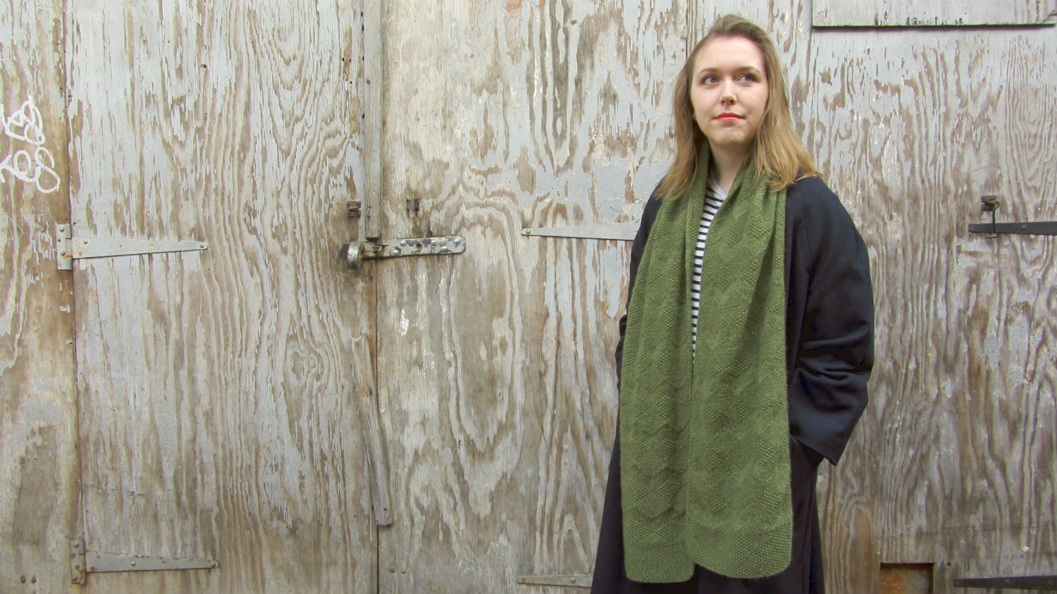 The Lovelock scarf is wide and long for maximum wrapping potential.