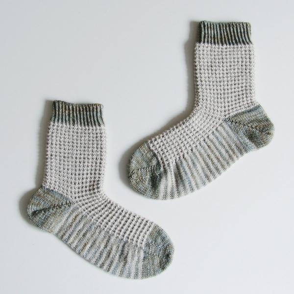 My latest free knitting pattern for Gaufre - a waffle stitch sock pattern.