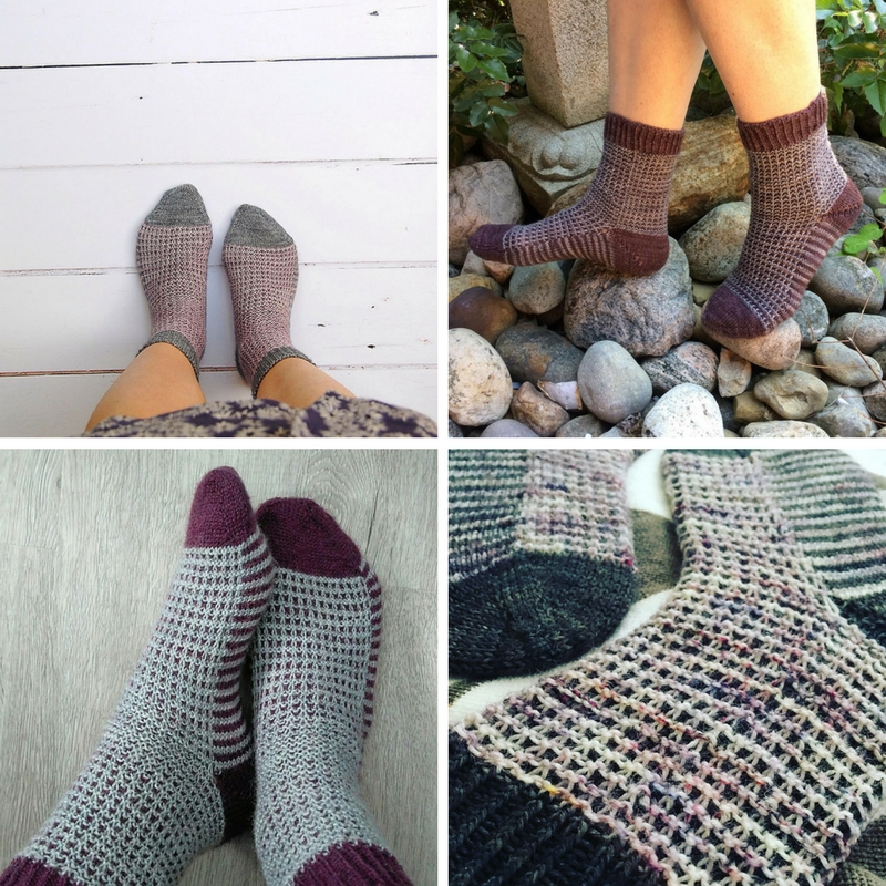 (Clockwise from top left) Gaufre Socks by  Sacha ,  Juliette ,  Antonia  and  Linda