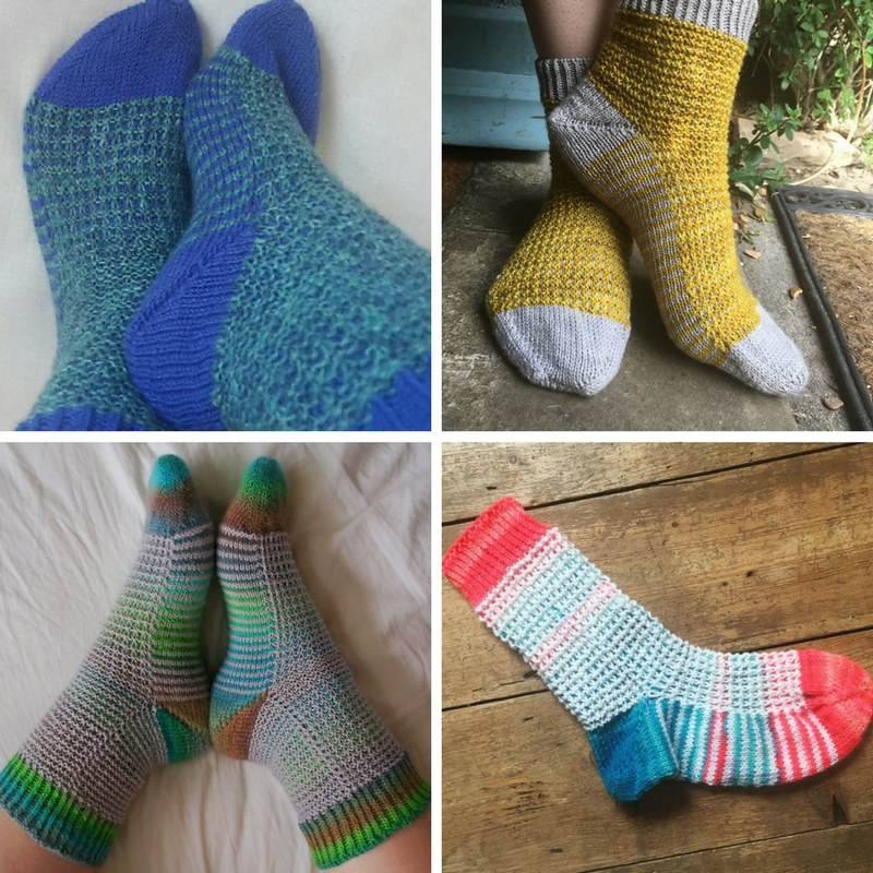 (Clockwise from top left) Gaufre Socks by  Katrin ,  Libby ,  Nicola  and  Alexandra