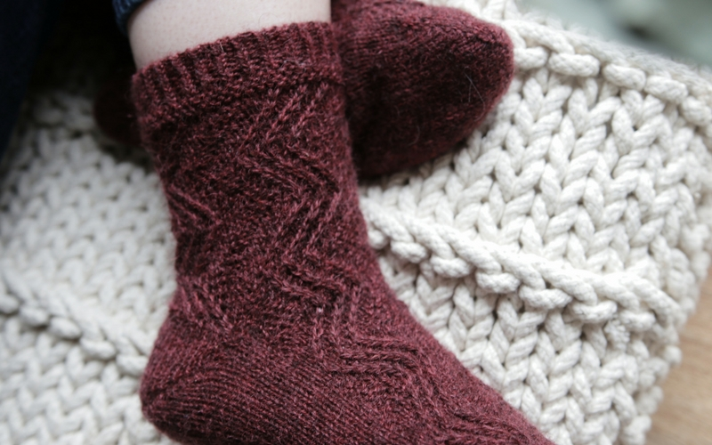 I worked with Blacker Yarns' Mohair Blends 4ply, which is a no-nylon sock yarn.
