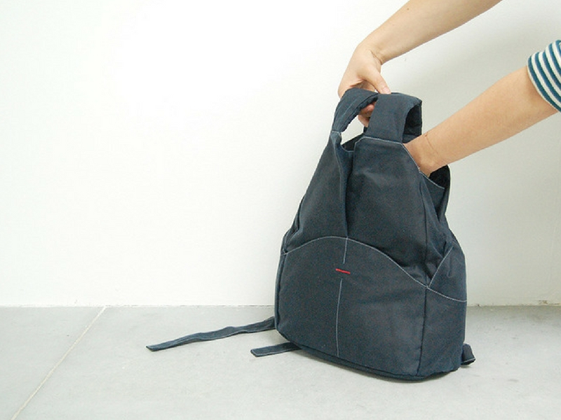The Minimal Pack : a 16-litre daypack designed for city use and Sacha Holub's third-year design project, made from just waxed cotton and polyester thread. This minimises the traceability issue that is so common in the backpack industry. There are no aluminium buckles, nylon webbing trim or foam padding from unknown and untrusted sources.