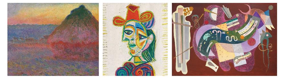 LEFT: Claude Monet (1840-1926), Meule, 1891 (Estimate on Request) CENTER: Pablo Picasso (1881-1973), Buste de femme (Dora Maar), 1938 (estimate: $18,000,000-25,000,000) RIGHT: Wassily Kandinsky (1866-1944), Rigide et courbé, 1935 (estimate: $18,000,000-25,000,000)