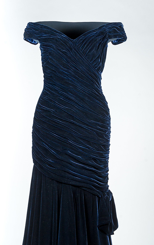 'Travolta' dress - ink blue velvet Victor Edelstein