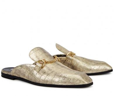 STELLA MCCARTNEY - Gold crocodile-effect loafers, £500