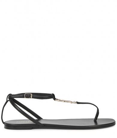 SAINT LAURENT - Black leather sandals, £425