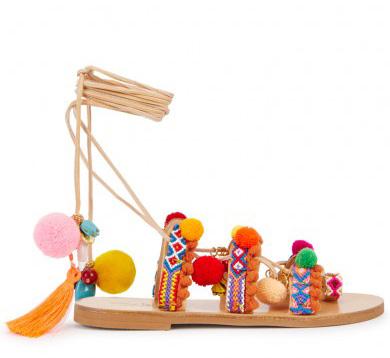ELINA LINARDAKI - Penny Lane pompom-embellished sandals, £190