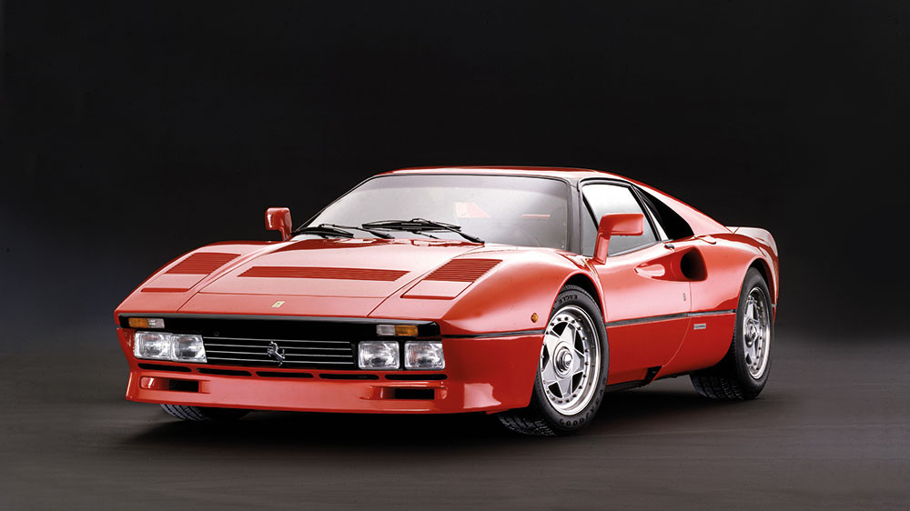 The Ferrari GTO model that was presented at the Geneva Motor Show in 1984