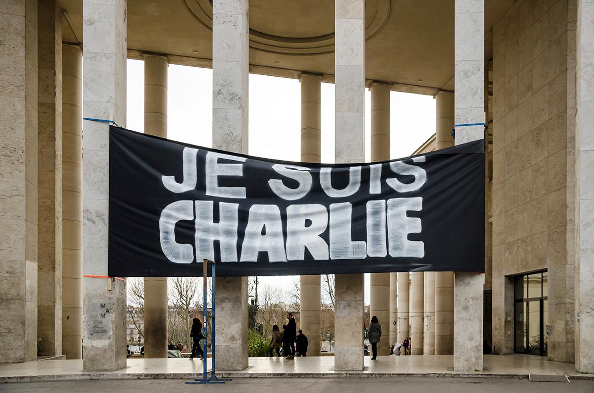 Je suis Charlie banner outside Palais de Tokyo at January 10, 2015, credit Paul SKG