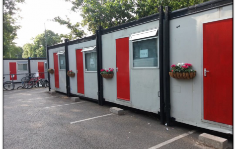 Builders' portacabins turned sleeping pods