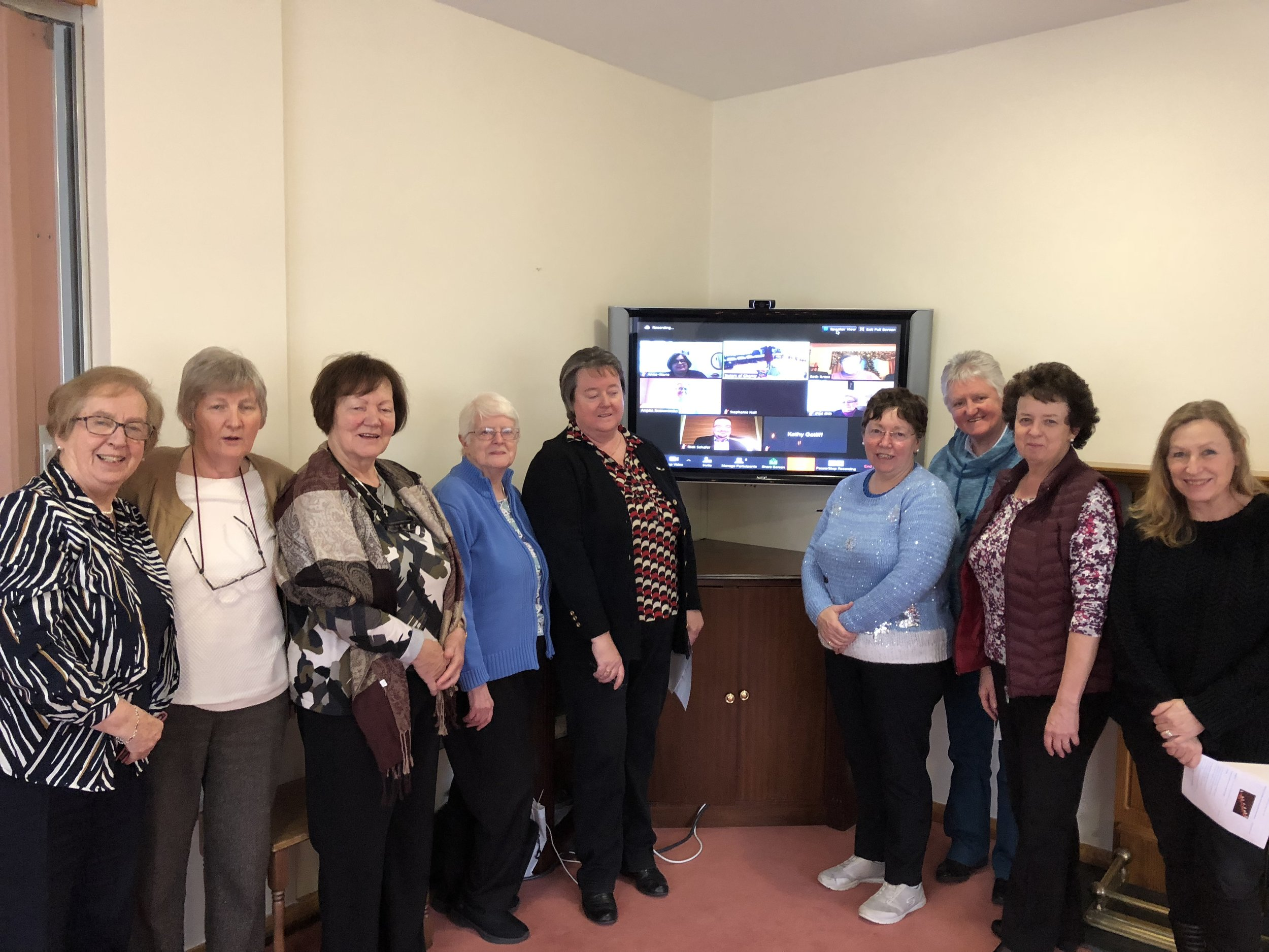 l to r: Srs Una Agnew, Suzanne Ryder, Attracta Tighe, Catherine Lennon, Patricia Lenihan & Margaret Cartwright (Vocations Director), Sr Marie Stuart, Sr Marie Dunne, Michelle Robertson (Communications Officer, Srs of Our Lady of Apostles)