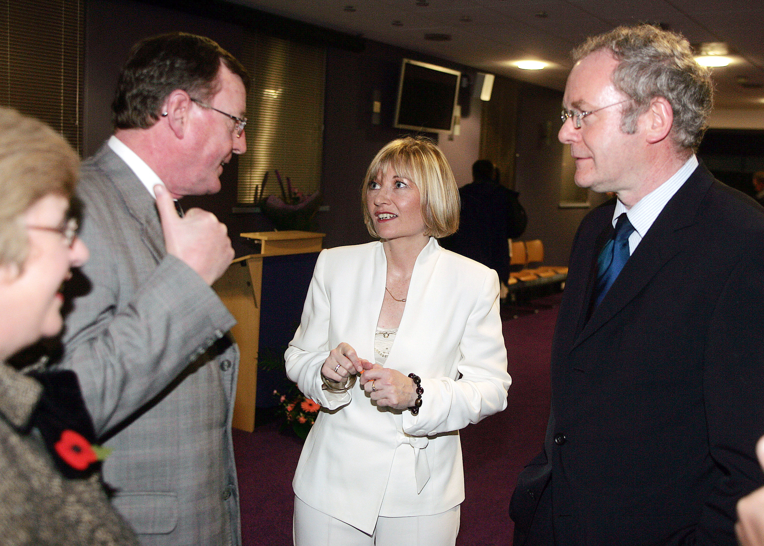 Martina in 2005 with politicians in Northern Ireland at her book launch