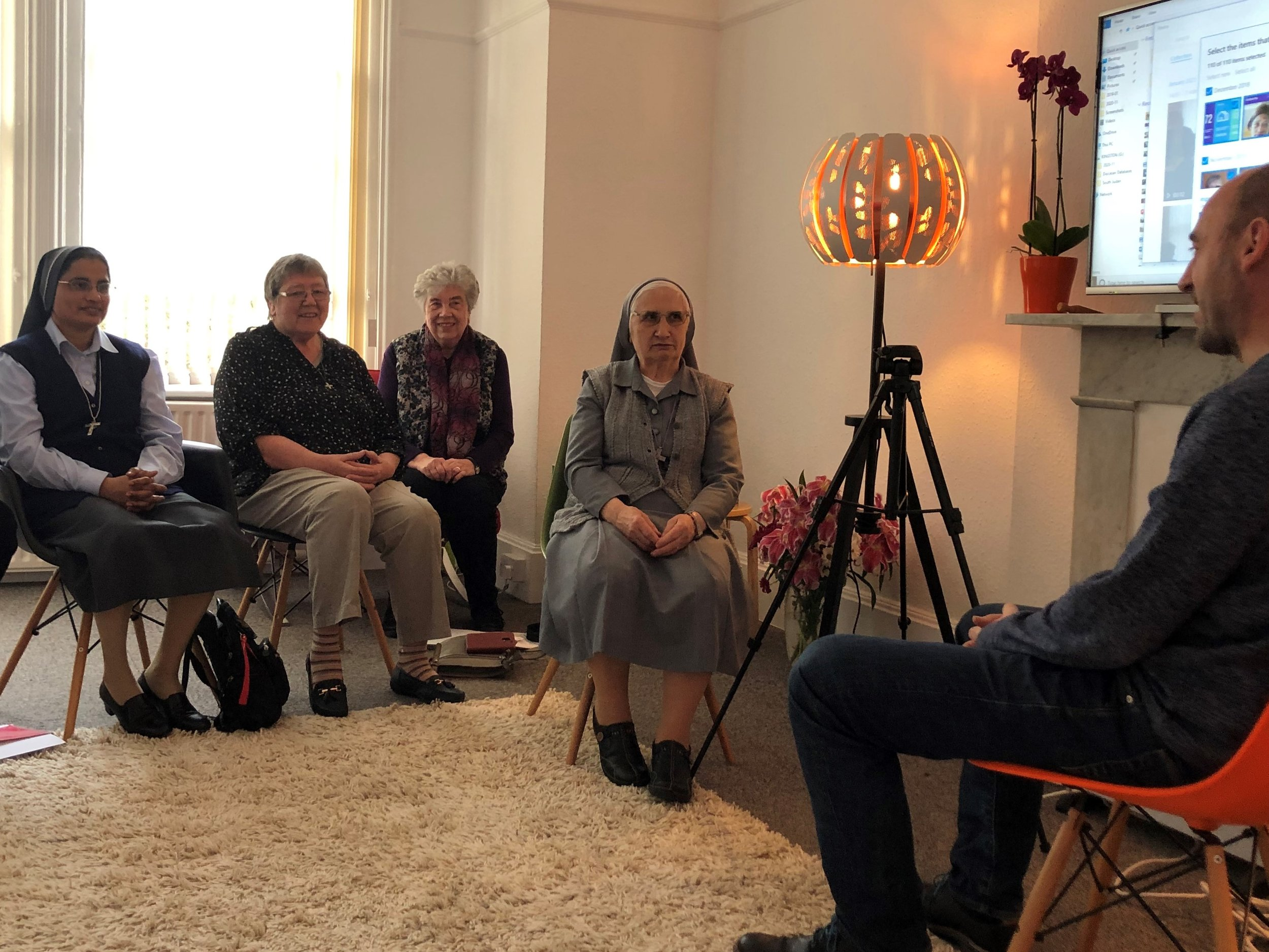 Sr Kathryn, 2nd from left, at media training in February