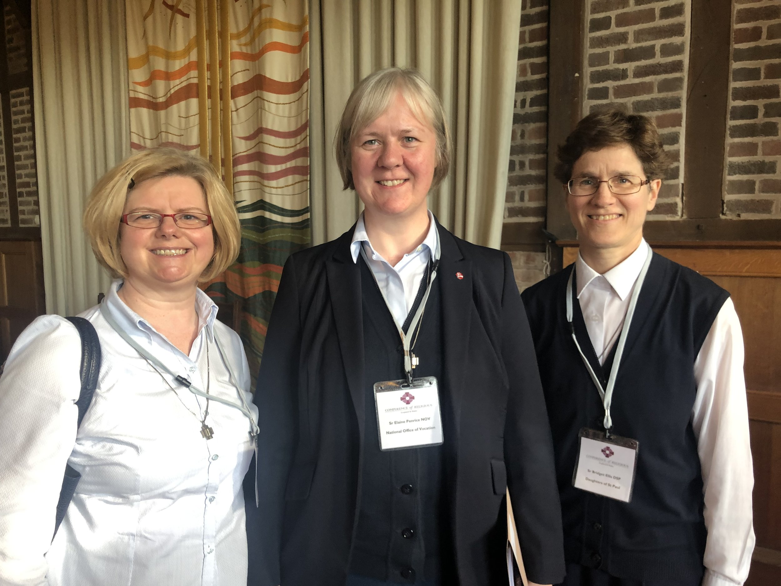 Daughters of St Paul at the CoR AGM: l to r: Sr Angela Grant, Sr Elaine Penrice, Sr Bridget Ellis