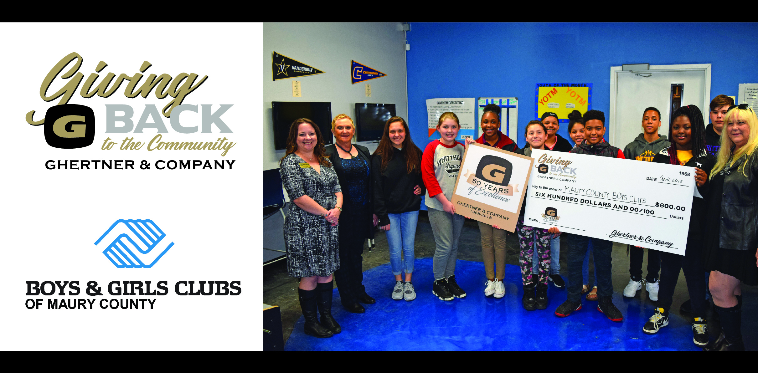 Stacy Adams, Ghertner & Company Director of Human Resources and Jaye Kloss, Ghertner & Company Director of Compliance and Training presented the check to this eager group of young people and staff.