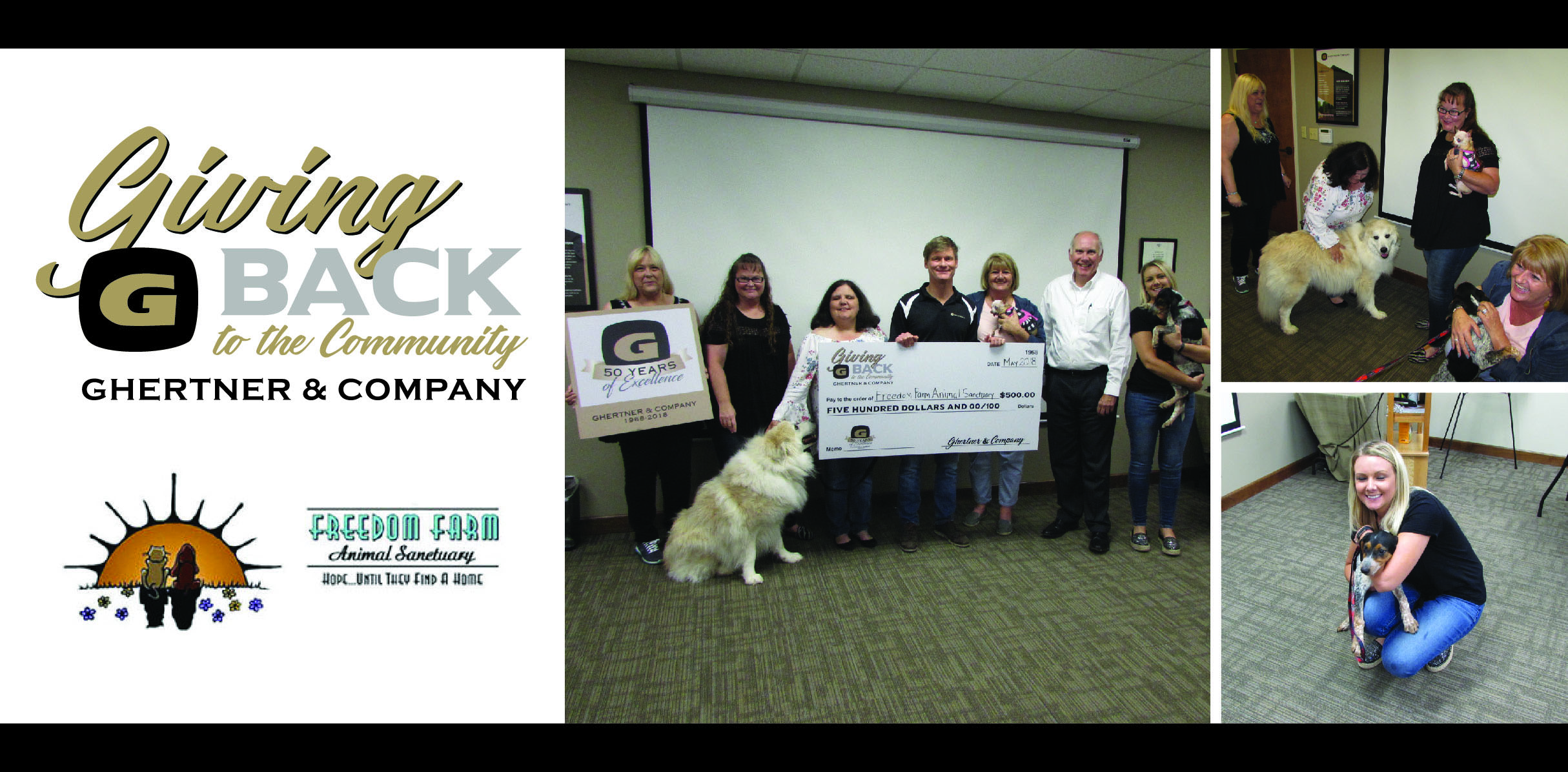 Receiving the check on behalf of the Freedom Farm Animal Sanctuary is   Kim Patton (second from the left)   from Scott Ghertner, Co-President of Ghertner & Company. Other Ghertner & Company associates in attendance were Jaye Kloss, Stephanie Gray, Janine Mathews, Henry Puckett and Danielle Hayes.