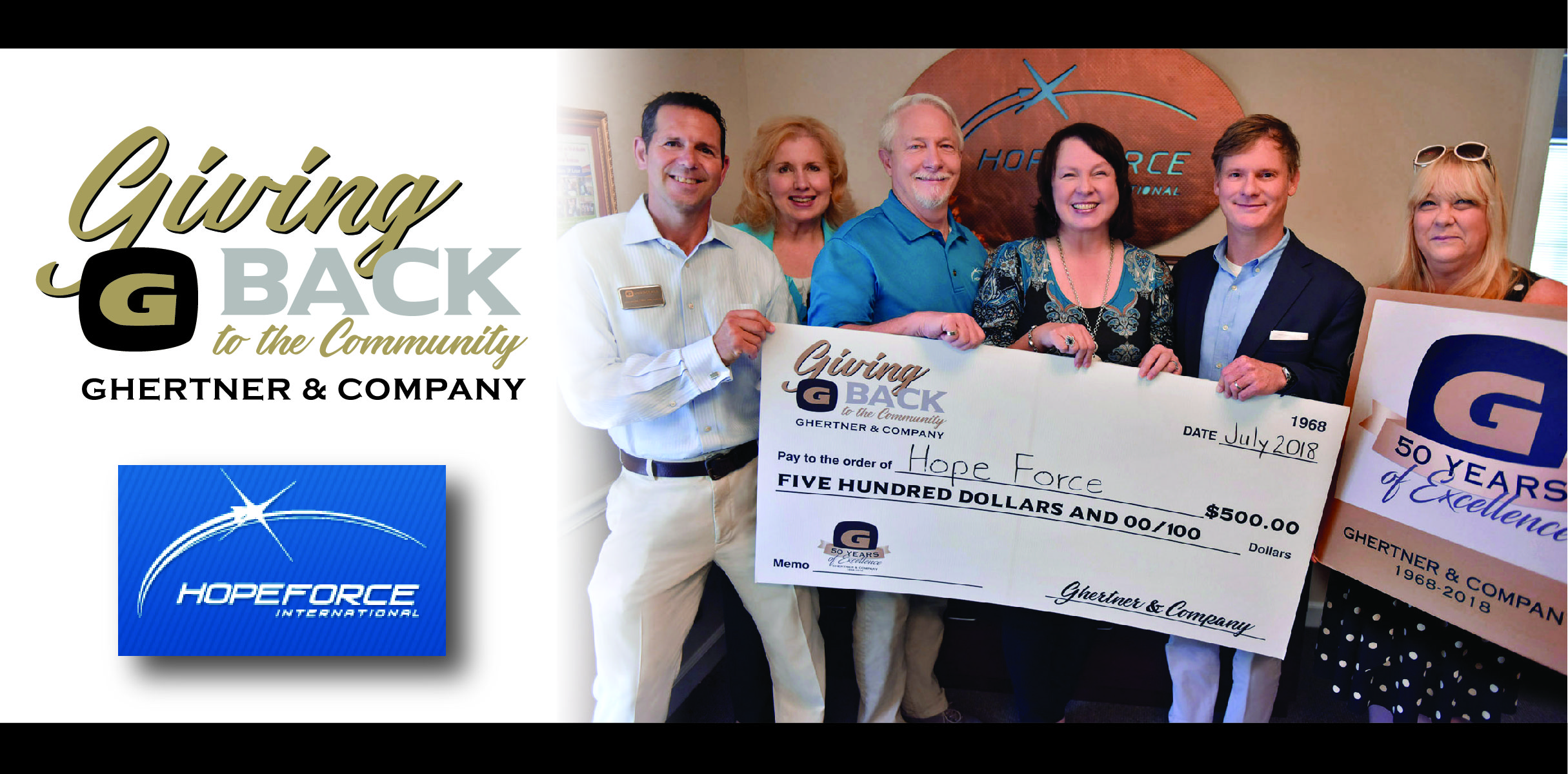 Hope Force International founders Jack and Cherie Minton receive the donation from Scott Ghertner, Co-President of Ghertner & Company.  Also present are Ghertner & Company associates John Knouff, Elecia Beard and Jaye Kloss.