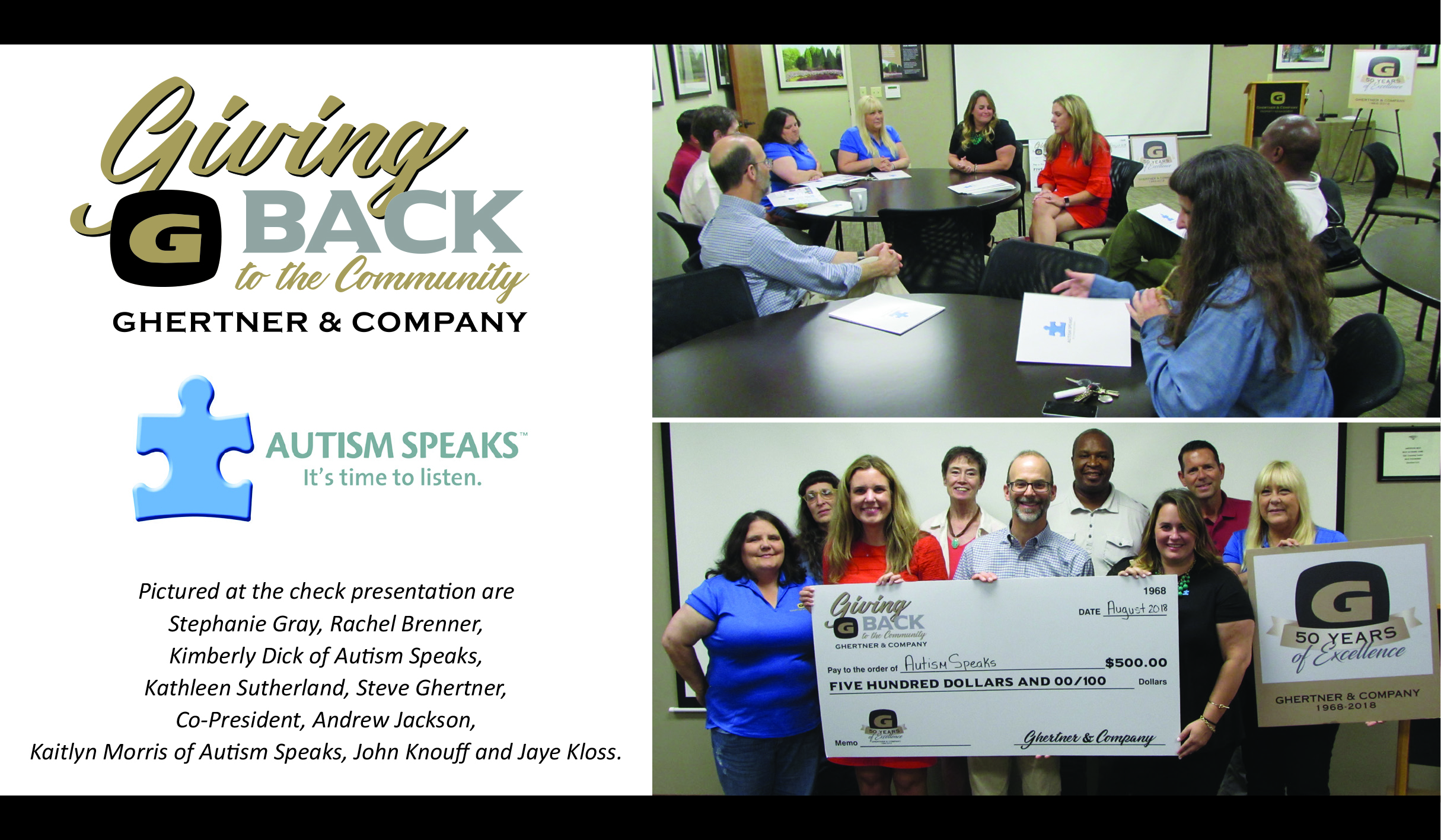 "In celebration of our 50th Anniversary, Ghertner & Company's ""Giving Back to our Community"" effort supports non-profit organizations within Middle Tennessee who are making a difference in the lives of those they serve.   Autism Speaks  was the recipient of the August donation and emphasis.  Autism Speaks is dedicated to promoting solutions, across the spectrum and throughout the life span, for the needs of individuals with autism and their families through advocacy and support; increasing understanding and acceptance of people with autism spectrum disorder; and advancing research into causes and better interventions for autism spectrum disorder and related conditions.  Representatives from Autism Speaks shared with and fielded questions by Ghertner & Company associates on Friday, August 24th.   Learn more at AutismSpeaks.org."