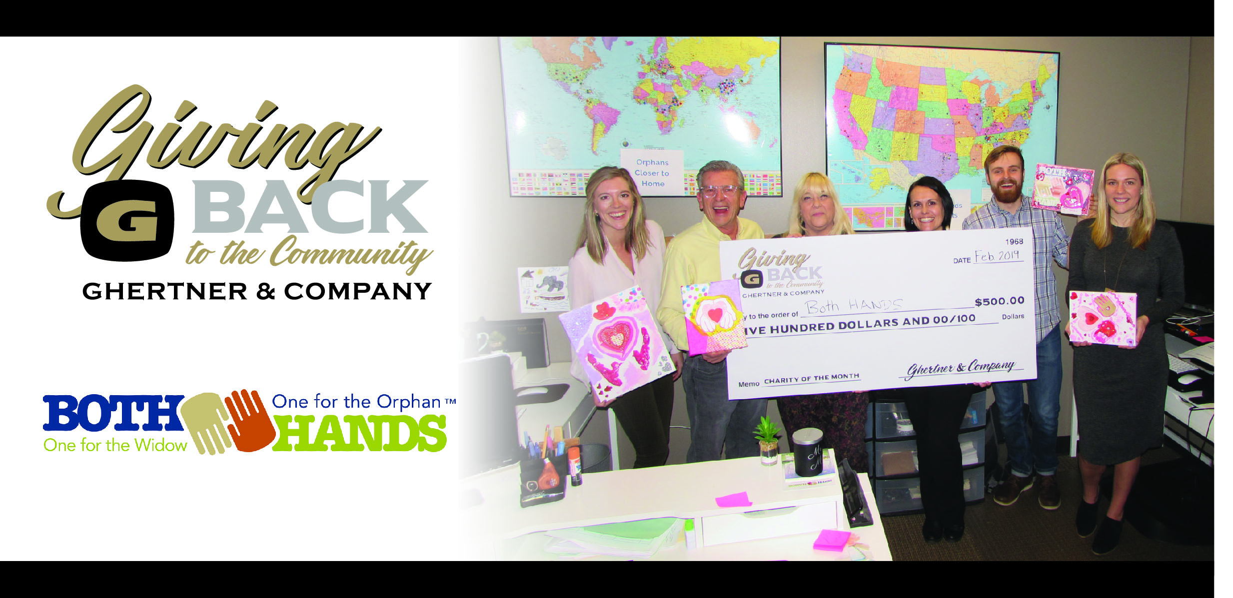 Pictured at the check presentation are Both Hands team members Bethany Purdy, Founder JT Olson, John Ericson and Aimee Sipe. Ghertner & Company associates present were Jaye Kloss and Kim Maynord (centered behind the check). In an effort to support organizations within the Middle Tennessee that are making a difference, Ghertner & Company is providing a $500 donation.
