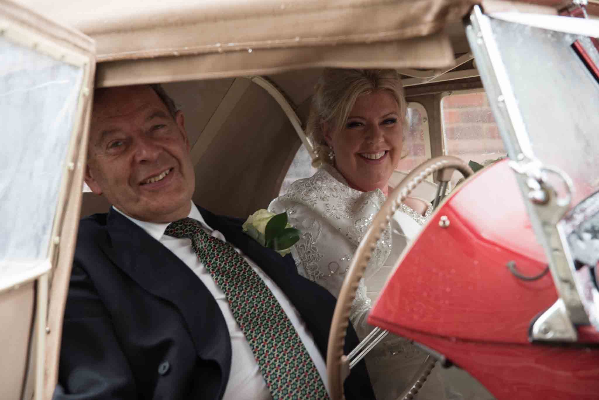 Bride arrives at St Mary & All Saints Beaconsfield