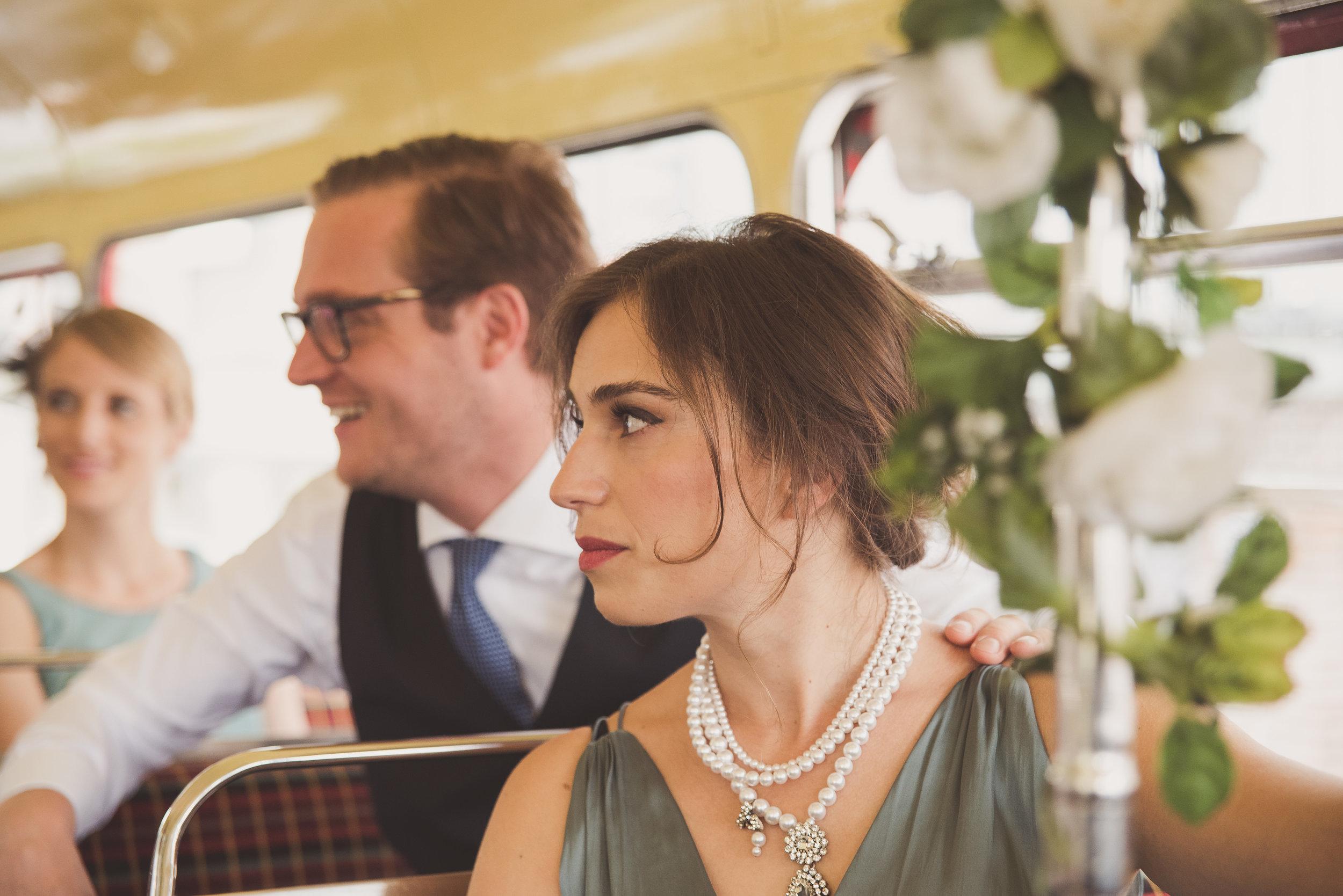 London wedding. Red bus wedding.