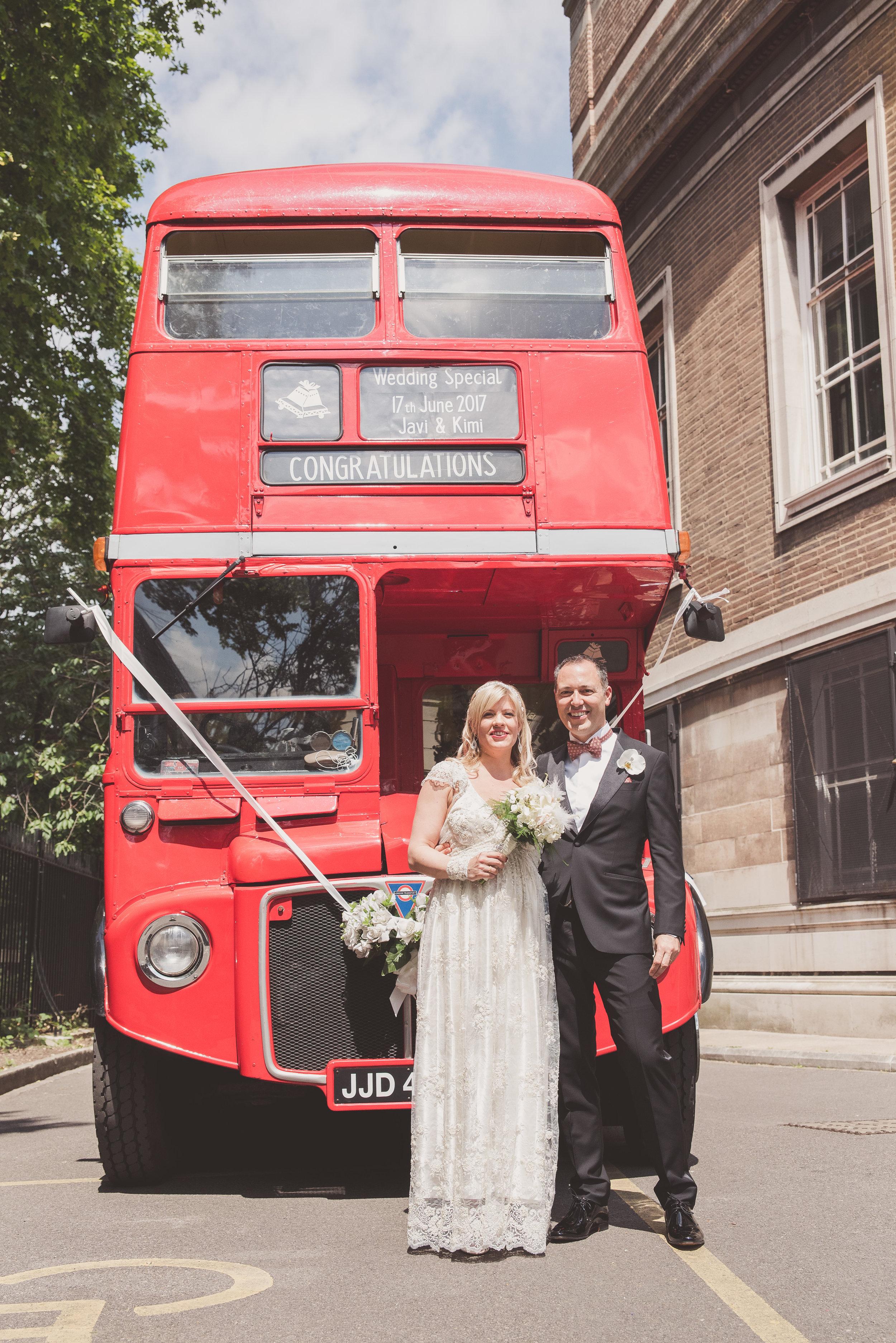 Stoke Newington wedding. Red bus photography.