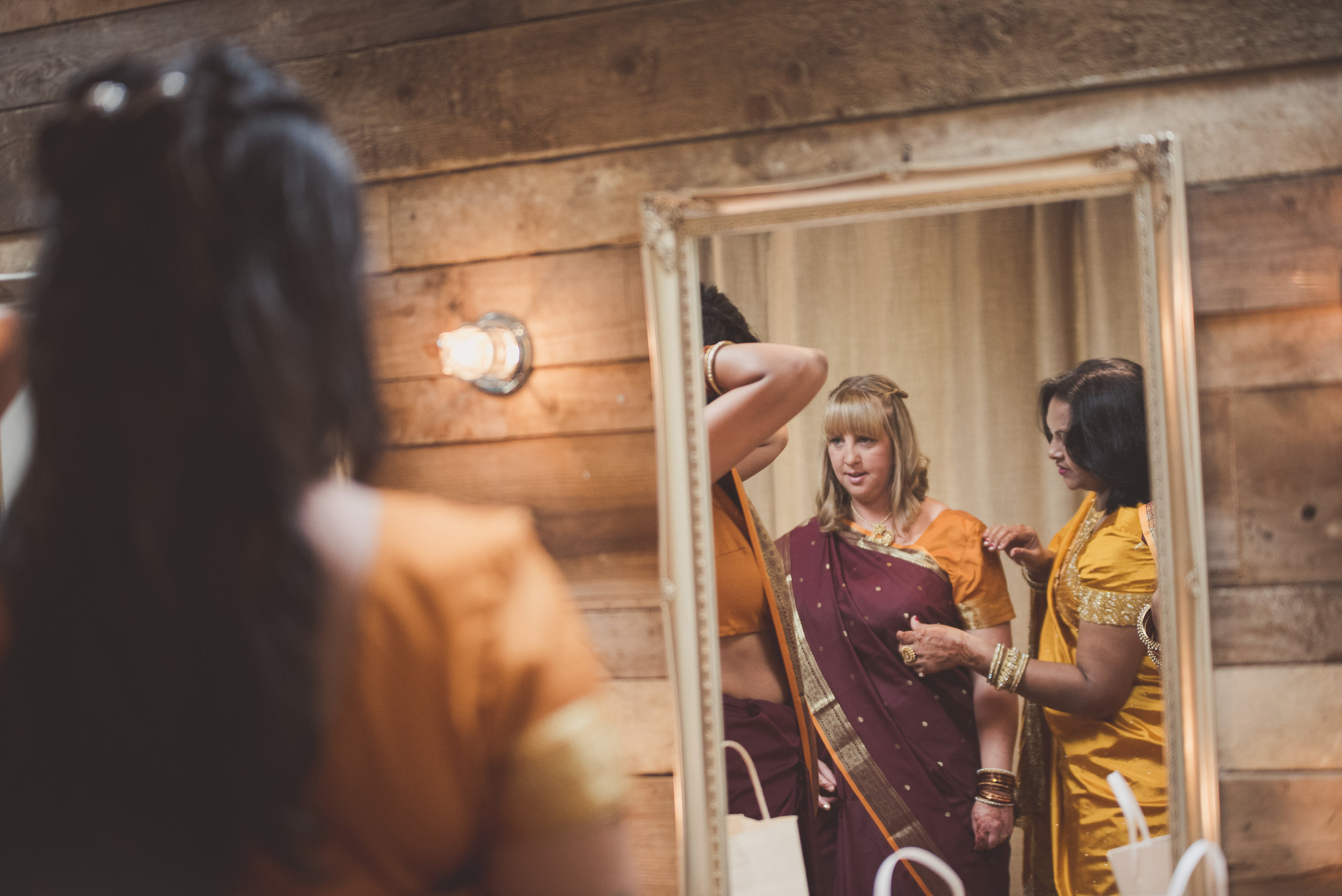 Bridesmaids getting ready at The Nook at The Tythe Barn