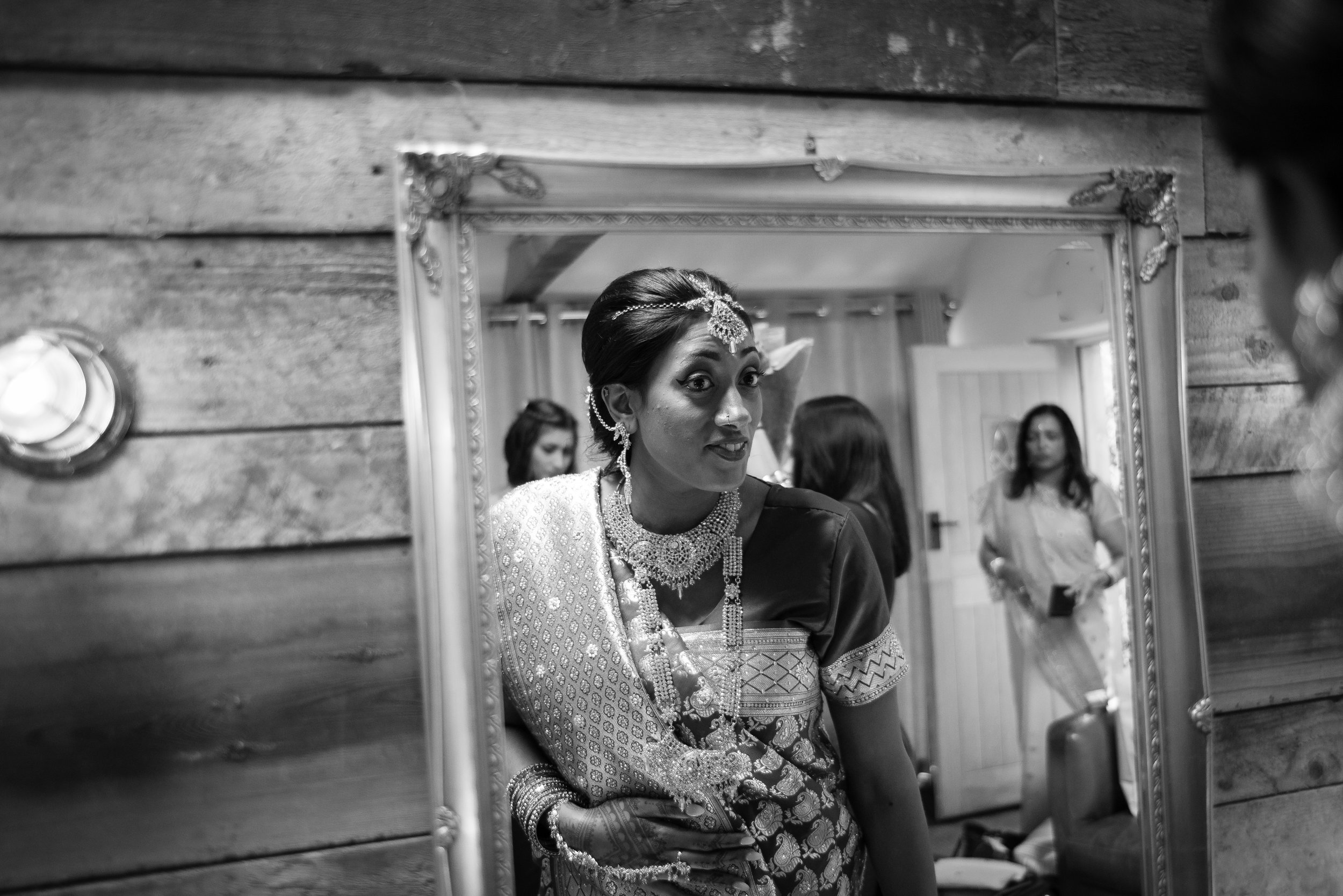 Hindu bride getting ready at The Tythe Barn