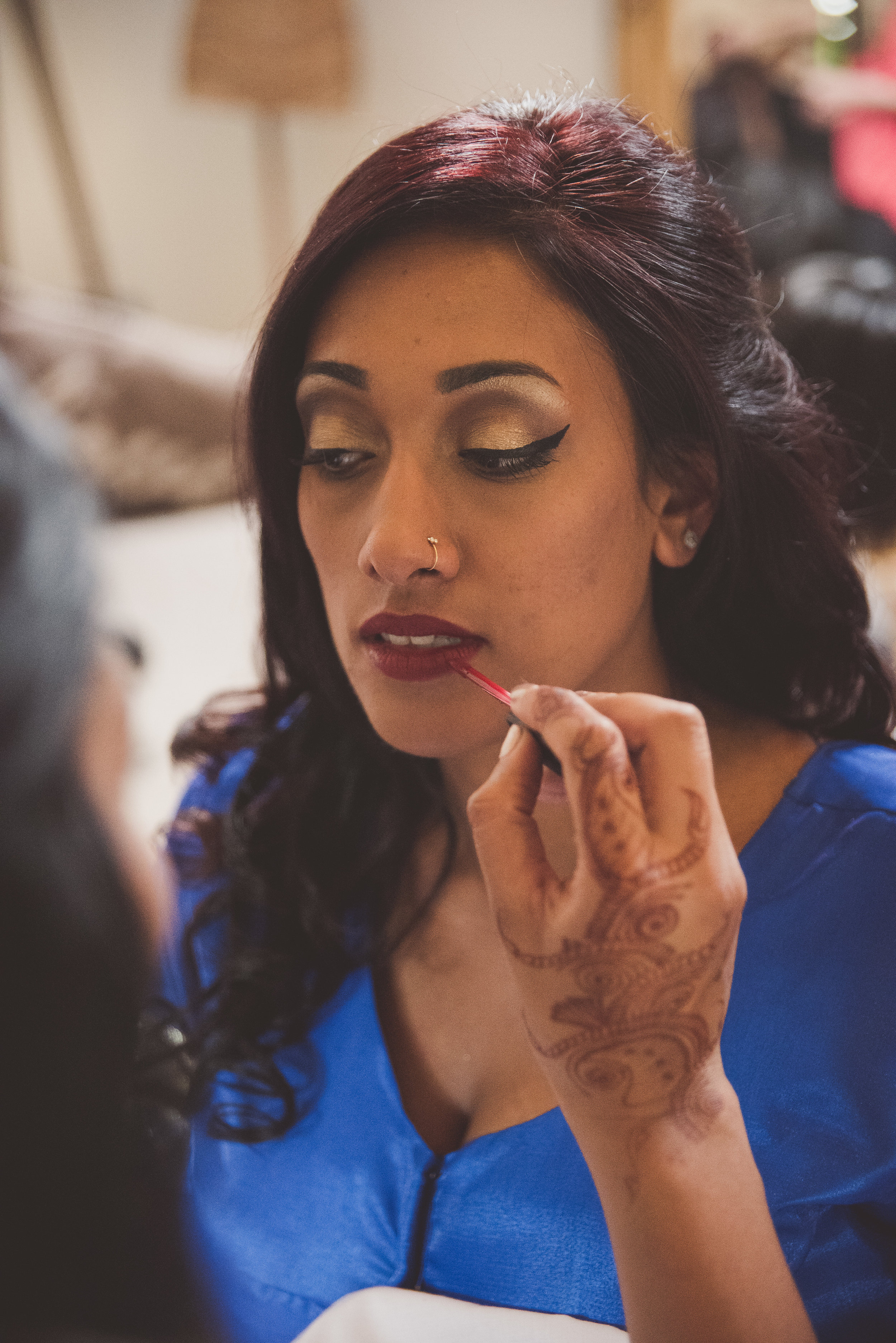 Hindu bride make up at Tythe Barn