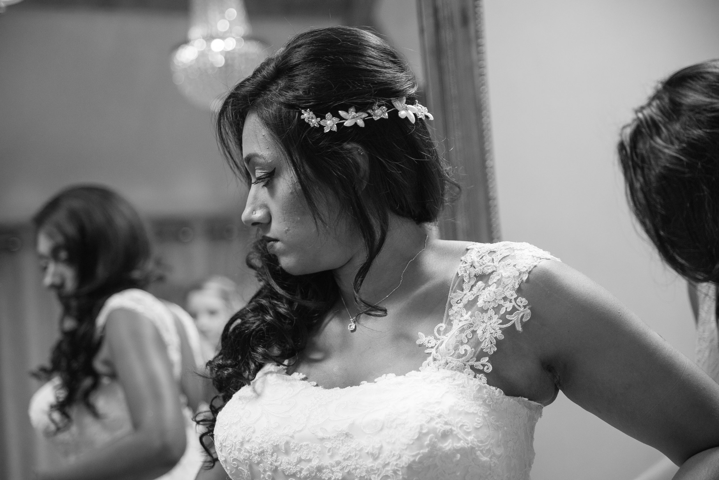 Bride getting ready at The Tythe barn