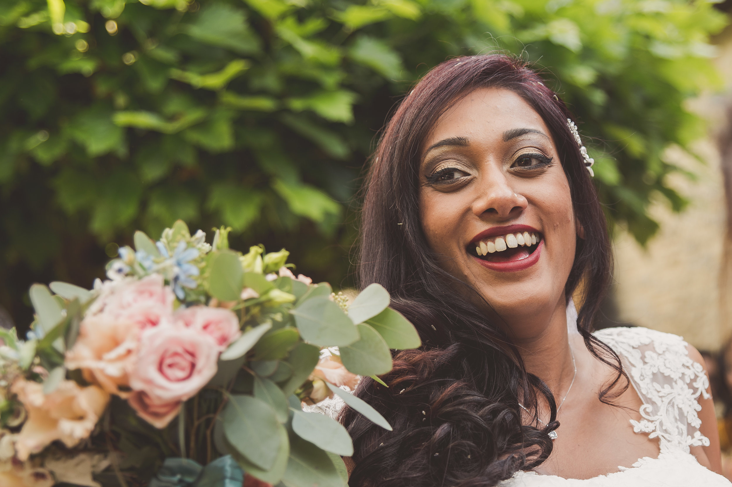 Beautiful bride at Tythe Barn wedding