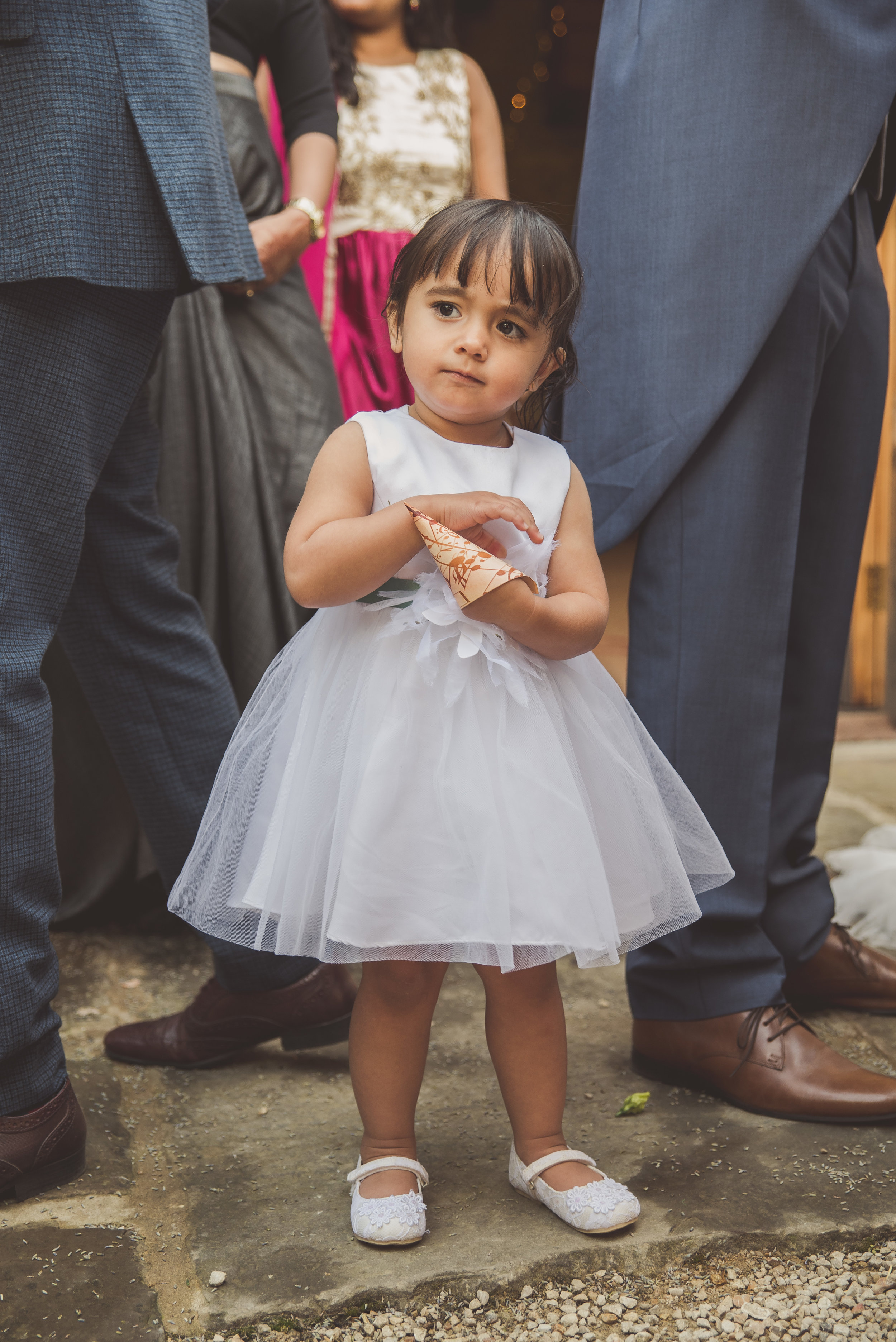 Flower girl at Tythe Barn wedding
