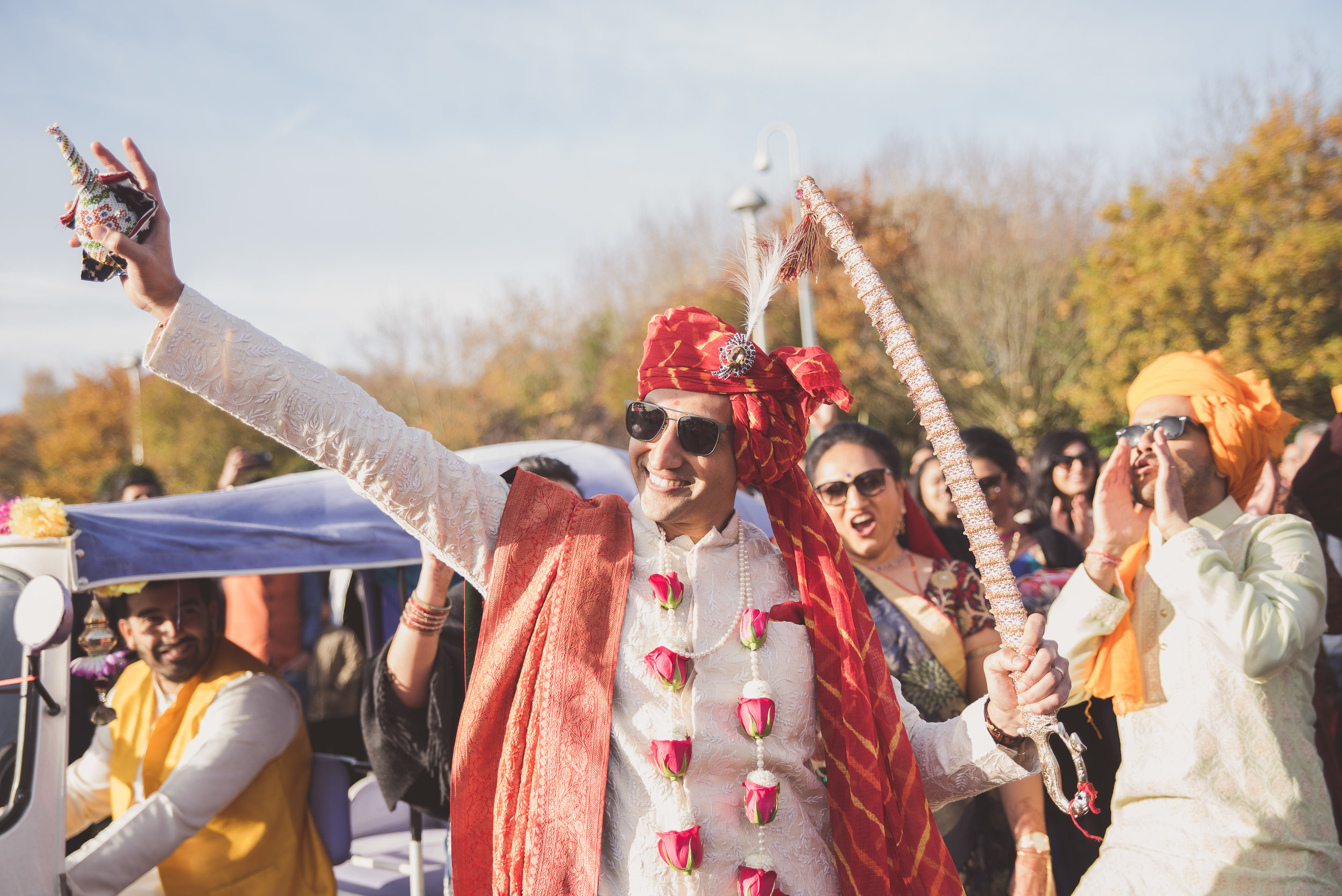 Hindu groom arrives by rickshaw