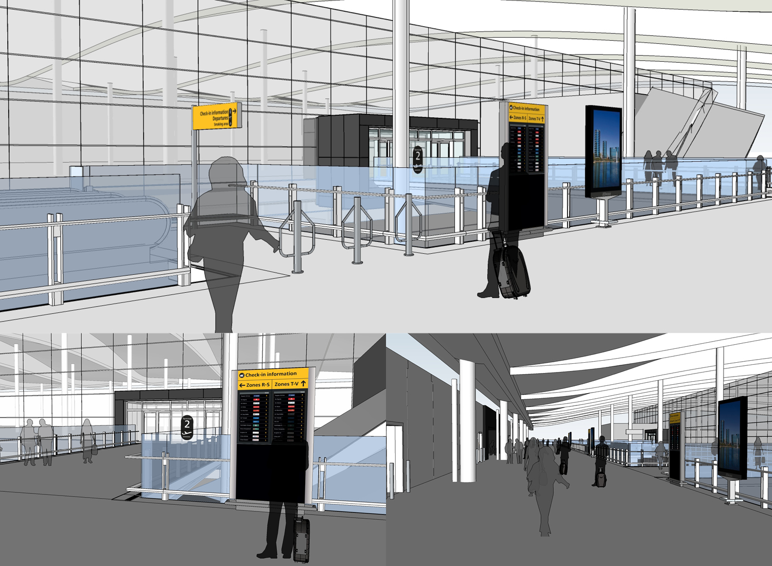 Visualizations of Signage placement during concept design
