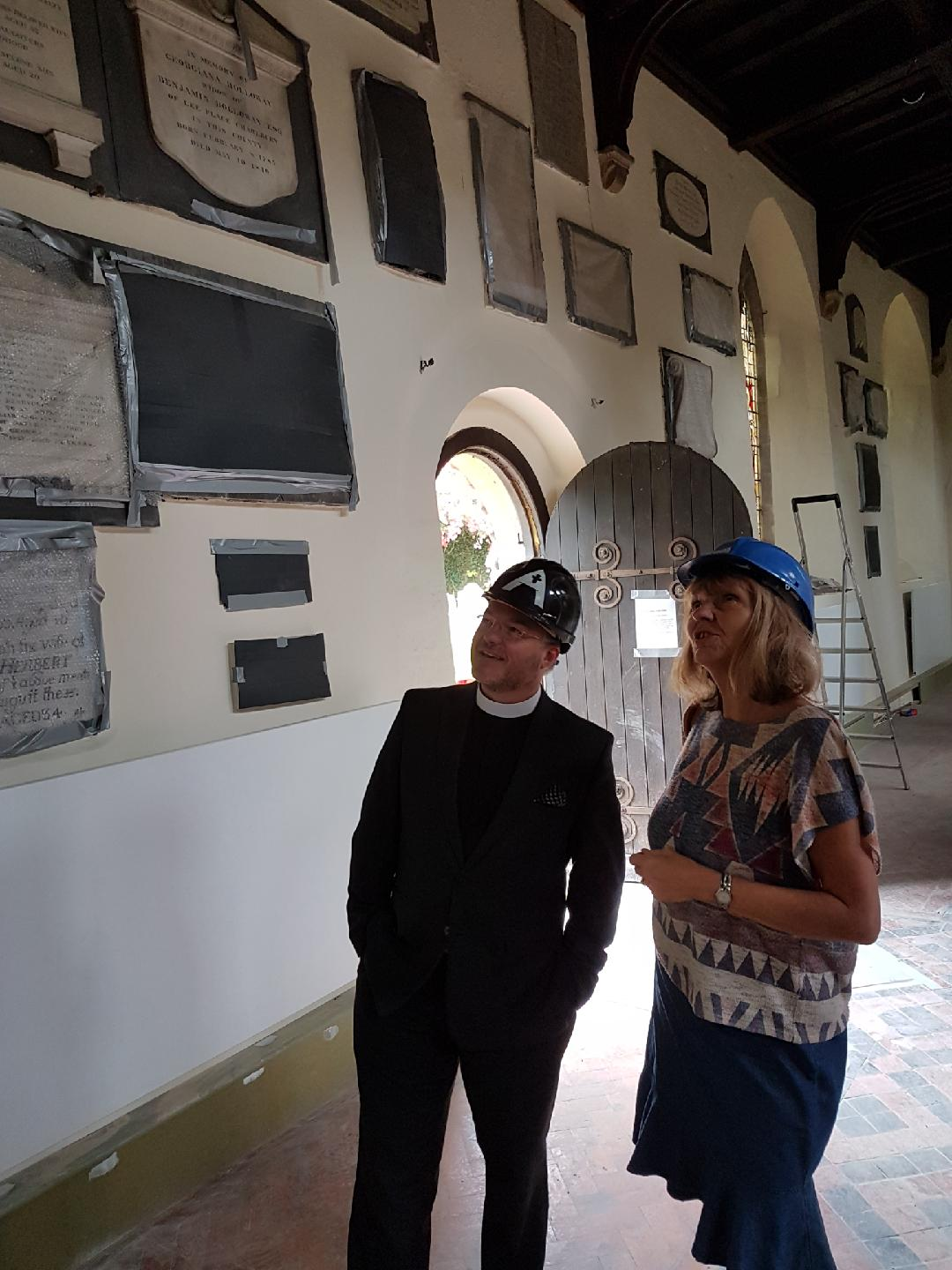 Adrian with the Mayor of Woodstock, Cllr Trish Redpath. (Note new radiator as yet unpainted).