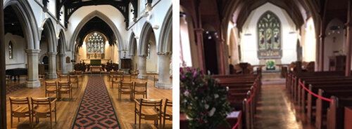 St Mary Magdalene's Woodstock (left) and St Martin's Bladon (right).  Our churches open daily for private prayer only  in compliance with COVID-19 regulations.