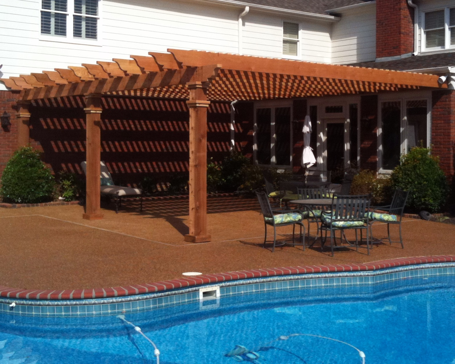 Poolside Open Top Pergola   This poolside patio was in need of some sun protection. They chose the open top design because it gave the area a nice cabana vibe, while still allowing guests to enjoy sunny days.