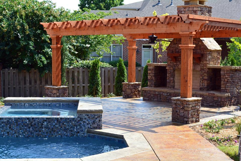 Poolside Retreat   Our customer wanted to update their space, and this pergola gave them the perfect shady spot to rest poolside. The nearby fireplace also gives allows them to use the space for warm gatherings in the fall.