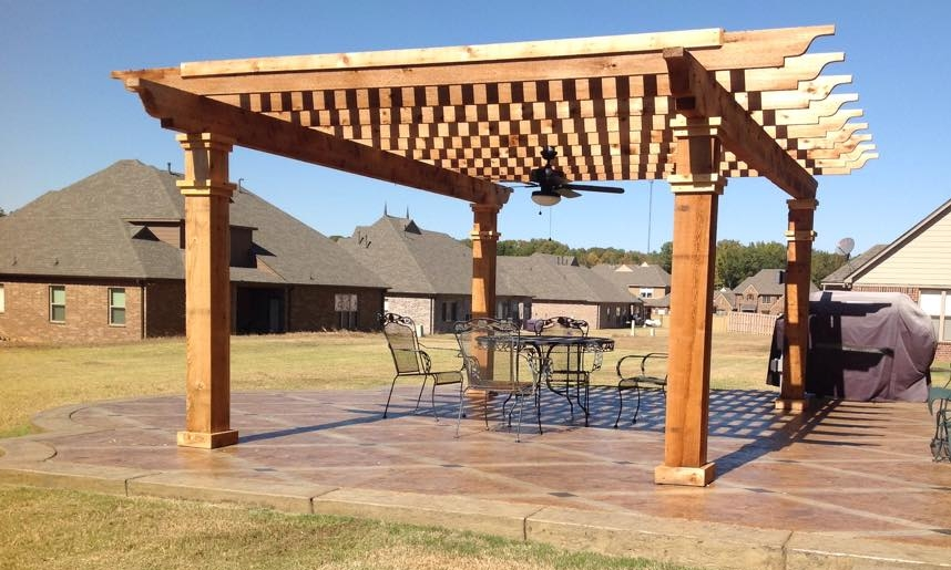 Concrete Pad Pergola   This pergola was build on a seamless concrete pad and makes a great sitting area for visitors.
