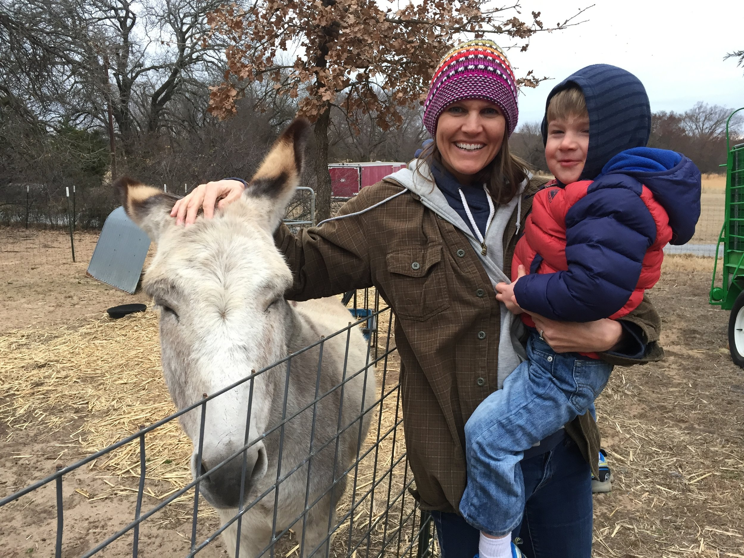 Emma the donkey, Keiran and I.Just another day at the funny farm. :)